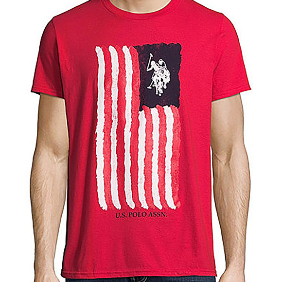 U.S. Polo Assn. Mens Crew Neck Short Sleeve Flag